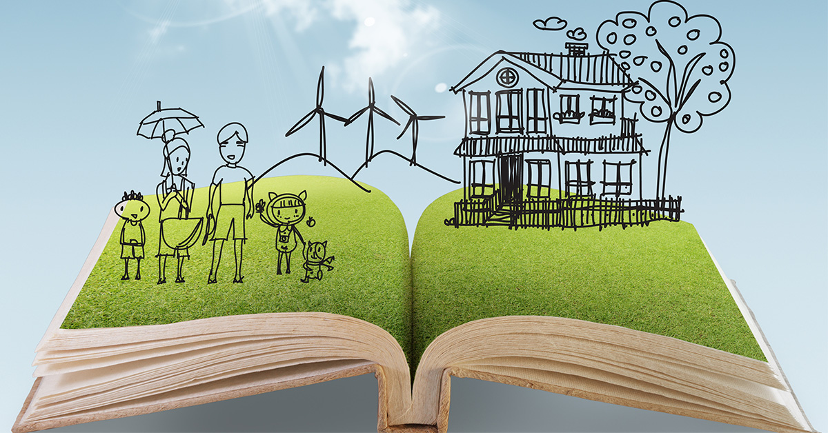 open book image with 'story' of awesome family life